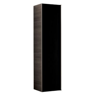 Geberit Citterio tall cabinet with one door: B=40cm, H=160cm, T=37.1cm, black / shiny glass, oak grey-brown / wood-textured melamine