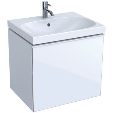 Geberit Acanto cabinet for washbasin, with one drawer and one internal drawer, bottle trap with dip tube: B=59.5cm, H=53.5cm, T=47.5cm, matt coated / sand grey, shiny glass / sand grey