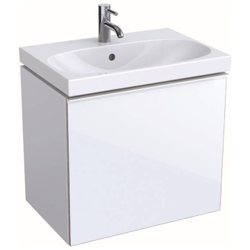 Geberit Acanto cabinet for washbasin, with one drawer and one internal drawer, small projection, bottle trap with dip tube: B=59.5cm, H=53.5cm, T=41.6cm, high-gloss coated / white, shiny glass / white