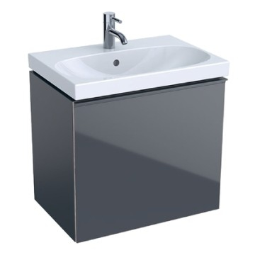 Geberit Acanto cabinet for washbasin, with one drawer and one internal drawer, small projection, with trap: B=59.5cm, H=53.5cm, T=41.6cm, lava / matt coated, lava / shiny glass