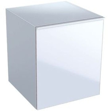 Geberit Acanto low cabinet with one drawer and internal drawer: B=45cm, H=52cm, T=47.6cm, high-gloss coated / white, shiny glass / white
