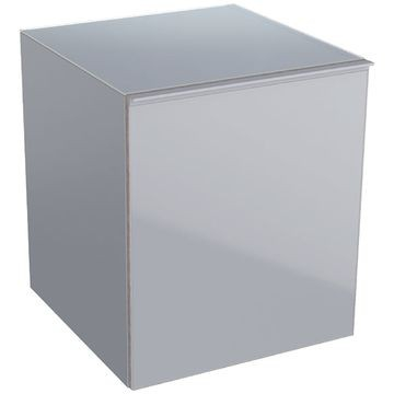 Geberit Acanto low cabinet with one drawer and internal drawer: B=45cm, H=52cm, T=47.6cm, sand grey / matt coated, sand grey / shiny glass