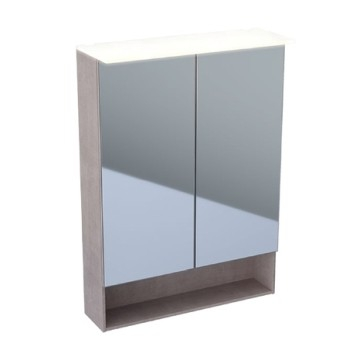 Geberit Acanto mirror cabinet with functional lighting, two doors: B=60cm, H=83cm, T=21.5cm, Plug type=CEE 7/16, mystic oak / wood-textured melamine, outside mirrored