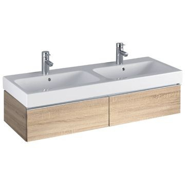 Geberit iCon cabinet for double washbasin, with two drawers: B=119cm, H=24cm, T=47.7cm, oak nature / wood-textured melamine