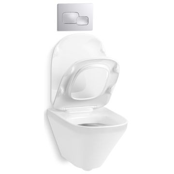 Kohler   Modern Toilet Wall-Hung with Thin Quiet-Close Seat White