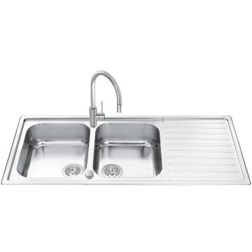 Smeg - Classic Alba Sink Drop-In Double Bowl 340x400mm Stainless Steel