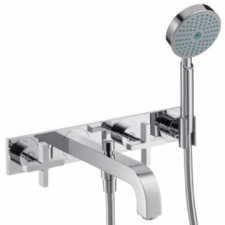 Axor - Citterio Wall-Mounted 3-Hole Bath Mixer with Cross Handles & Plate Chrome