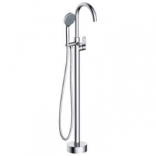 Bay Freestanding Bath Mixer with Hand Shower Round Chrome - BluTide