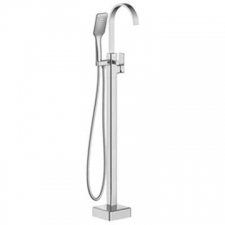 Shore Freestanding Bath Mixer with Shower Hose Square Chrome - BluTide