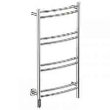 Bathroom Butler - Natural Curved Heated Towel Rail 8 Bar TDC Polished Stainless Steel