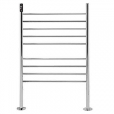 Bathroom Butler - Natural Floorstanding Wide Heated Towel Rail 9 Bar TDC Polished Stainless Steel