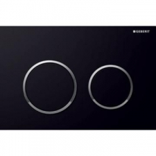 Geberit actuator plate Omega20 for dual flush: black, bright chrome-plated