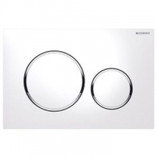Geberit actuator plate Sigma20 for dual flush: white, bright chrome-plated