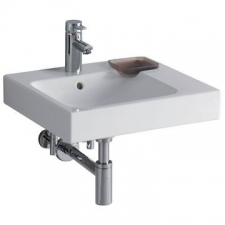 Geberit iCon washbasin with decorative dish: B=50cm, T=48.5cm, Tap hole=centred, Overflow=visible, Shelf space=right, white