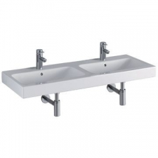 Geberit iCon double washbasin: B=120cm, T=48.5cm, Tap hole=centred, Overflow=visible, white