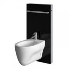Geberit Monolith sanitary module for bidet, 101 cm, with towel rail: black / glass
