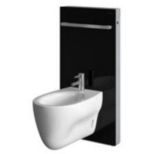 Geberit Monolith sanitary module for bidet, 101 cm, with towel rail: umber / glass