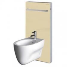 Geberit Monolith sanitary module for bidet, 101 cm, with towel rail: sand / glass