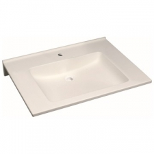 Geberit Publica washbasin, square design, barrier-free: B=70cm, T=55cm, Tap hole=centred, Overflow=without, white alpine