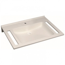 Geberit Publica washbasin, square design, with cut-outs, barrier-free: B=70cm, T=55cm, Tap hole=centred, Overflow=without, white alpine