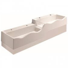 Geberit Bambini play and washspace, for four washbasin taps, lower basin on the left: B=180cm, T=41.5cm, Tap hole=left and right, Overflow=without, white alpine
