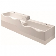 Geberit Bambini play and washspace, for four washbasin taps, lower basin on the right: B=180cm, T=41.5cm, Tap hole=left and right, Overflow=without, white alpine