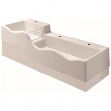 Geberit Bambini play and washspace, for three washbasin taps, lower basin on the right: B=139cm, T=41.5cm, Tap hole=centred, left and right, Overflow=without, white alpine