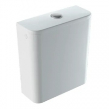 Geberit Smyle Square exposed cistern, close-coupled, dual flush, lateral water supply connection: white