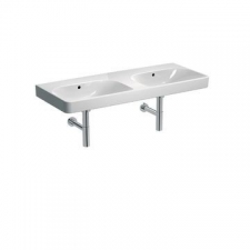 Geberit Smyle Square double washbasin: B=120cm, T=48cm, Tap hole=without, Overflow=visible, white