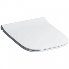 Geberit Smyle Square WC seat, slim design, sandwich shape: Soft-closing mechanism =no, Quick-release hinges=no, Fastening=from above, white