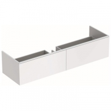 Geberit Xeno² cabinet for washbasin made of solid surface material, with two drawers: B=159.5cm, H=35cm, T=47.3cm, white / matt coated
