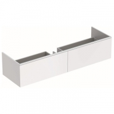 Geberit Xeno² cabinet for washbasin made of solid surface material, with two drawers: B=139.5cm, H=35cm, T=47.3cm, white / matt coated