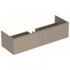 Geberit Xeno² cabinet for washbasin made of solid surface material, with two drawers: B=139.5cm, H=35cm, T=47.3cm, greige / matt coated