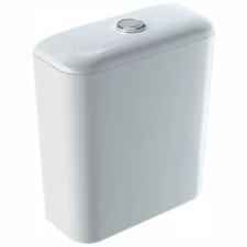Geberit iCon exposed cistern, close-coupled, dual flush, bottom water supply connection: white