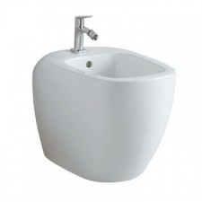 Geberit Citterio floor-standing bidet, back-to-wall, shrouded: T=56cm, Overflow=visible, white / KeraTect