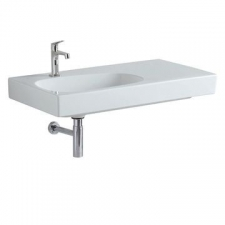 Geberit Citterio washbasin with shelf surface: B=90cm, T=50cm, Tap hole=left, Overflow=without, Shelf space=right, white / KeraTect