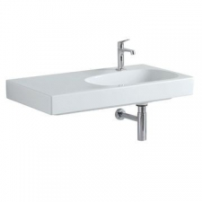 Geberit Citterio washbasin with shelf surface: B=90cm, T=50cm, Tap hole=right, Overflow=without, Shelf space=left, white / KeraTect