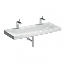 Geberit Xeno² washbasin: B=120cm, T=48cm, Tap hole=left and right, Overflow=without, KeraTect / white