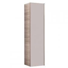 Geberit Citterio tall cabinet with one door: B=40cm, H=160cm, T=37.1cm, taupe / shiny glass, oak beige / wood-textured melamine