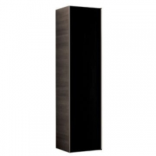Geberit Citterio tall cabinet with one door: B=40cm, H=160cm, T=37.1cm, shiny glass / black, wood-textured melamine / oak grey-brown