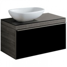 Geberit Citterio cabinet for lay-on washbasin, with one drawer: B=88.4cm, H=54.3cm, T=50.4cm, black / shiny glass, oak grey-brown / wood-textured melamine