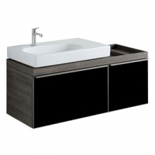 Geberit Citterio cabinet for washbasin, with two drawers and shelf surface: B=118.4cm, H=55.4cm, T=50.4cm, black / shiny glass, oak grey-brown / wood-textured melamine