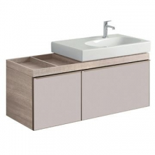 Geberit Citterio cabinet for washbasin, with two drawers and shelf surface: B=118.4cm, H=55.4cm, T=50.4cm, taupe / shiny glass, oak beige / wood-textured melamine