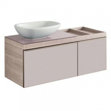 Geberit Citterio cabinet for lay-on washbasin, with two drawers and shelf surface: B=118.4cm, H=54.3cm, T=50.4cm, taupe / shiny glass, oak beige / wood-textured melamine