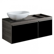 Geberit Citterio cabinet for lay-on washbasin, with two drawers and shelf surface: B=118.4cm, H=54.3cm, T=50.4cm, shiny glass / black, wood-textured melamine / oak grey-brown