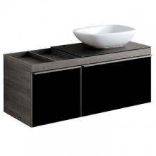 Geberit Citterio cabinet for lay-on washbasin, with two drawers and shelf surface: B=118.4cm, H=54.3cm, T=50.4cm, black / shiny glass, oak grey-brown / wood-textured melamine