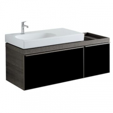 Geberit Citterio cabinet for washbasin, with two drawers and shelf surface: B=133.4cm, H=55.4cm, T=50.4cm, black / shiny glass, oak grey-brown / wood-textured melamine