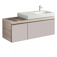 Geberit Citterio cabinet for washbasin, with two drawers and shelf surface: B=133.4cm, H=55.4cm, T=50.4cm, taupe / shiny glass, oak beige / wood-textured melamine
