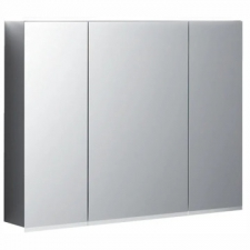 Geberit Option Plus mirror cabinet with lighting and three doors: B=90cm, H=70cm, T=17.2cm, Plug type=CEE 7/16, outside mirrored, inside and outside mirrored