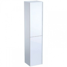 Geberit Acanto tall cabinet with two doors: B=38cm, H=173cm, T=36cm, white / high-gloss coated, white / shiny glass